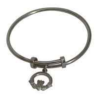 Image for Sterling Silver Dangle Claddagh Knot Baby Bangle