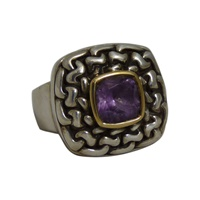Image for Inis Aran Ring Amethyst Sterling Silver and 18Kt Trim