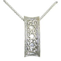 """Image for Keith Jack Sterling Silver Oxidized """"Scavaig"""" Rectangular Barked Pendant"""