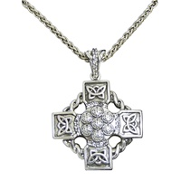 Keith Jack  Sterling Silver Oxidized Celtic Wheel Cross