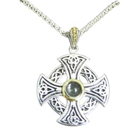 Image for Keith Jack Sterling Silver and 10K White Topaz Wheel Cross
