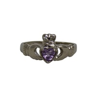 Image for 14K White Gold Amethyst Claddagh Ring