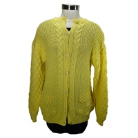 Image for Hand Knit Linen Cotton Crew Neck Cardigan, Sunflower