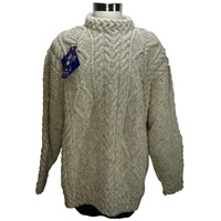 Image for Hand Knitted Irish Celtic Weave Pull Over Wool Sweater Oat