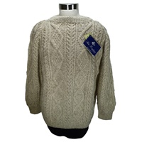 Image for Hand Knitted Irish Crew Neck Pullover Oatmeal M Maguire