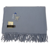 Image for 100% Lambswool John Hanly Baby Blanket, Blue Stork