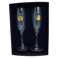 Image for Bride and Groom Trinity Flutes Goldtone
