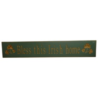 Image for Bless This Irish Home Shamrock Wooden Carved Wallboard, Green