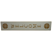 Image for Wooden Carved Wallboard Welcome - White