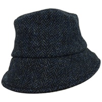 Hanna Hat Wee Thatch Tweed Hat, Navy Herringbone