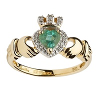 Image for 14K Empress Claddagh With Emerald And Diamond