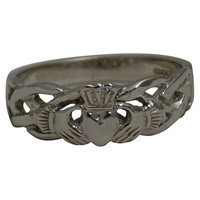 Image for Celtic Knot Weave Claddagh Ladies Ring 14K White Gold