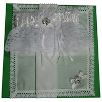 Image for Irish White Lace Shamrock Wedding Garter and Linen Hanky