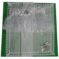 Image for Irish White Lace Shamrock Wedding Garter and Linen Hanky