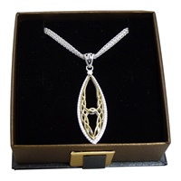 Image for Keith Jack Sterling Silver and Gold Oval Gateway  Pendant