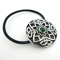 Image for Round Celtic Knotwork Hair Bobbin Green Stone