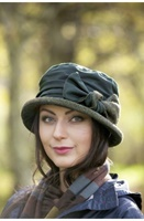 Image for Jess Waxed Cotton and Velvet Fashion Hat | Rain Hat by Kathleen McAuliffe