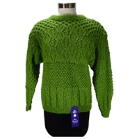 Image for Hand Knit Linen Cotton Irish Creative Crew, Green