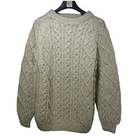 Image for Hand Knitted Irish Crew Neck Pullover Aran Ann O