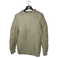 Image for Hand Knitted Irish Crew Neck Pullover Oatmeal Betty OConnor