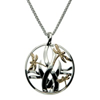 Image for 10K Yellow Gold and Sterling Silver Dragonfly Pendant