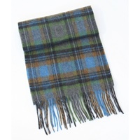 Image for Extra Long Lambswool Scarf - Grey/Blue/Orange/Green