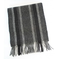 Image for Lambswool Scarf - Charcoal, Black and Grey Herringbone