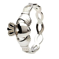 Image for Claddagh Ring with Braided Shank - Sterling Silver