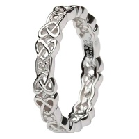 Image for Ladies Silver Celtic Knot Stone Set Ring