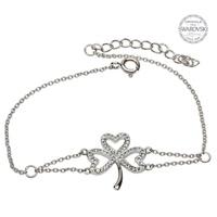 Image for Sterling Silver White Swarovski Crystal Shamrock Bracelet