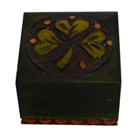 Image for Mini Wood Engraved Shamrock Box