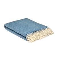 Image for Heritage Pure Wool Herringbone Blanket, Blue Sky