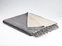 Image for Irish Linen and Merino Wool Throw Blanket, Feather Grey