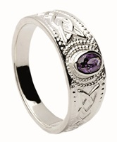 Image for Contemporary Celtic Design Silver Ring - Amethyst Set
