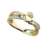 Image for 14K Diamond Claddagh Crossover Ring