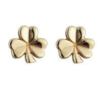 Image for 14K Yellow Gold Small 11 mm Shamrock Stud Earrings
