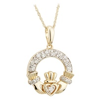 Image for 14K Gold Diamond Irish Claddagh Pendant