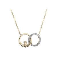 Image for 14K Gold Diamond Claddagh Circle Pendant