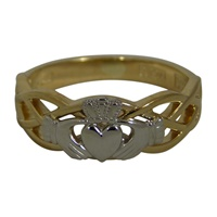 Image for Two Tone Celtic Knot Weave Claddagh Ladies Ring 14K