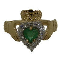 Image for Diamond and Emerald Claddagh Ring 14K Yellow Gold