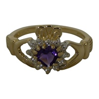 Image for Diamond and Amethyst Claddagh Ring 14K Yellow Gold