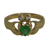 Image for Emerald with Diamond Crown Claddagh Ring 14K Yellow Gold