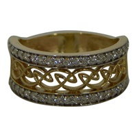 Image for 14K Yellow Gold Celtic Weave Diamond Ring