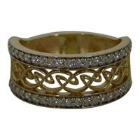 Image for 14K Yellow Gold Celtic Weave Diamond Ring