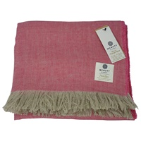 Image for Irish Linen Throw Blanket, Fuchsia