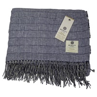 Image for Irish Linen and Merino Wool Throw Blanket, Nightshadow Blue