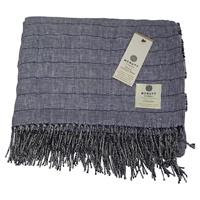 Image for Irish Linen and Merino Wool Throw Blanket, Nightshadow Blue