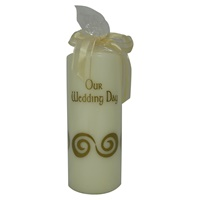 "Image for ""Our Wedding Day"" Pillar Candle - Gold"