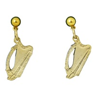 Image for Plated 24K Gold Old Irish Coin Harp Dangle Earrings