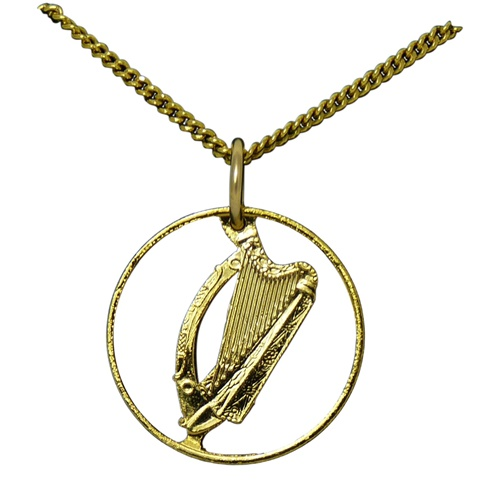 Plated 24K Gold Old Irish Coin Harp Pendant - Tipperary